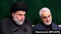 قاسم سلیمانی و مقتدی صدر در دفتر رهبر جمهوری اسلامی در ۱۹ شهریور