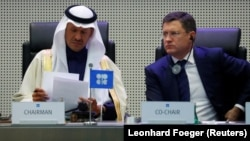 Министры энергетики Саудовской Аравии и России на заседании ОПЕК в Вене.