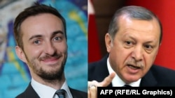 "A combo photo of German satirist Jan Boehmermann (left) and Turkish President Recep Tayyip Erdogan. Boehermann called Erdogan a ""professional idiot"" and suggested he engaged in bestiality."