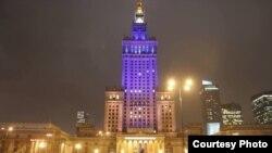 Найвышэйшы хмарачос у Польшчы папраўдзе стаў жоўта-блакітным