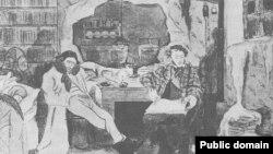 Юлия Оболенская. Ходасевич и Пушкин. Шарж. (Петроград, Россия, 1920)