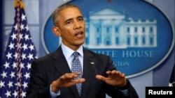Президент США Барак Обама во время итоговой пресс-конференции в Белом доме, Вашингтон, 18 января 2017 года
