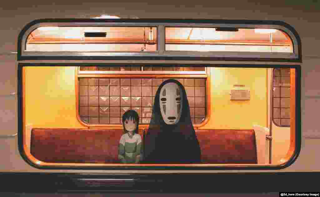 Chihiro and No-Face, from the Japanese anime fantasy film Spirited Away, ride the metro.