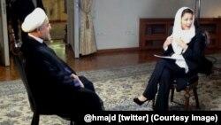 Иран президенті Хассан Роухани (сол жақта) NBC тілшісі Энн Карриге сұхбат беріп отыр. Тегеран, 18 қыркүйек 2013 жыл.