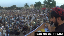 Manzoor Pashteen delivers a speech to the Pashtun Tahafuz Movement in Lahore on April 22.