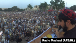 Manzur Pashteen delivers a speech to the Pashtun Tahafuz Movement in Lahore on April 22.