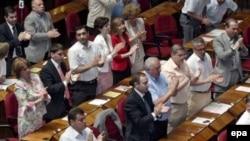 Грузинские парламентарии аплодируют принятому решению