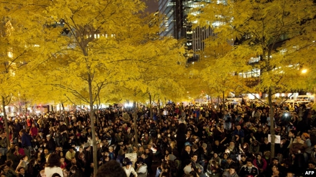Protesters gathered again in New York's Zuccotti Park after it was re-opened on November 15. But they won't be allowed to camp there.