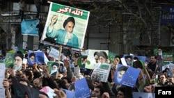 نمایی از تظاهرات حامیان دولت در تهران