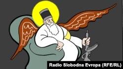"""Karikatura Predraga Koraksića Coraxa pod naslovom """"Beli Filaret"""""""