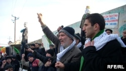 Demonstration in Nardaran denouncing Israeli military strikes on the Gaza Strip