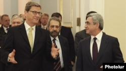 Armenia - President Serzh Sarkisian (R) meets with German Foreign Minister Guido Westerwelle in Yerevan, 16Mar2012.