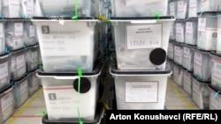 Гласачките кутии од изборите во Косово