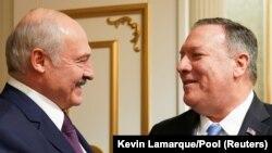 Բելառուսի նախագահ Ալեքսանդր Լուկաշենկոն և ԱՄՆ պետքարտուղար Մայք Փոմփեոն, Միսնկ, 1 փետրվարի, 2020թ.