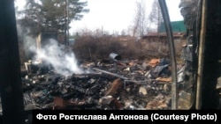 Activist Rostislav Antonov says a suspect in the arson attack on his dacha has been apprehended.