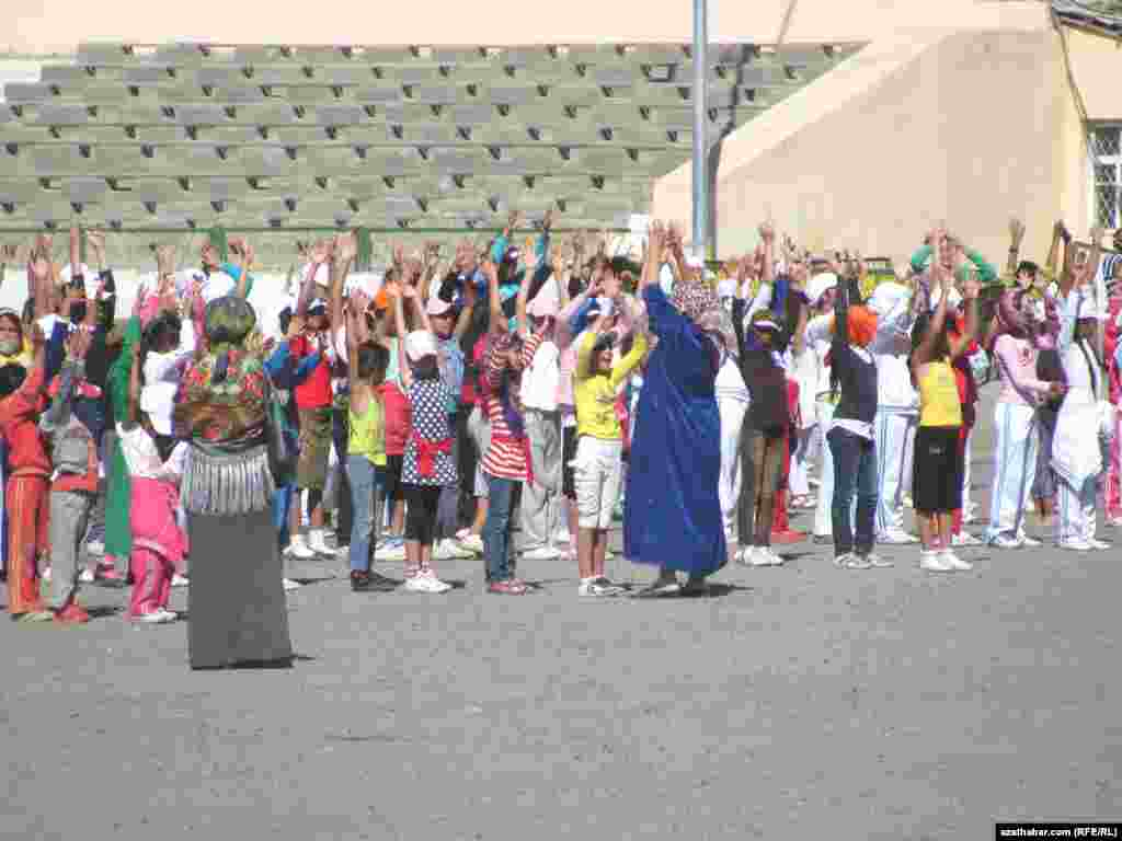 Students and state employees have been taking part in compulsory dance and parade training since mid-September. Here, students rehearse in the eastern city of Turkmenabad in Lebap Province.