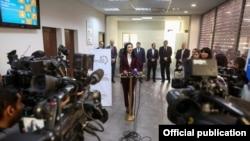 Armenia -- Justice Minister Arpine Hovhannisian announces state services at private operators, Yerevan, 18Nov2016