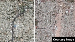 Satellite images from 2011 (left) and 2015 (right) show the destruction of Shahrisabz's UNESCO-protected historic center.