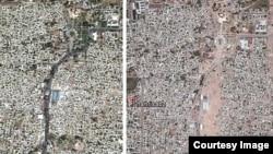 Спутниковые изображения 2011 года (слева) и 2015 года (справа) показывают разрушение исторического центра Шахрисабза.