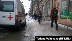 Наледь на тротуаре в Санкт-Петербурге