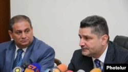 Armenia -- Prime Minister Tigran Sarkisian (R) and Agriculture Minister Gerasim Alaverdian at a news conference, undated.