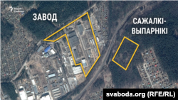 Прыблізная схема забудовы ў Калодзішчах у сувязі з будаўніцтвам новага заводу «Амкадор»