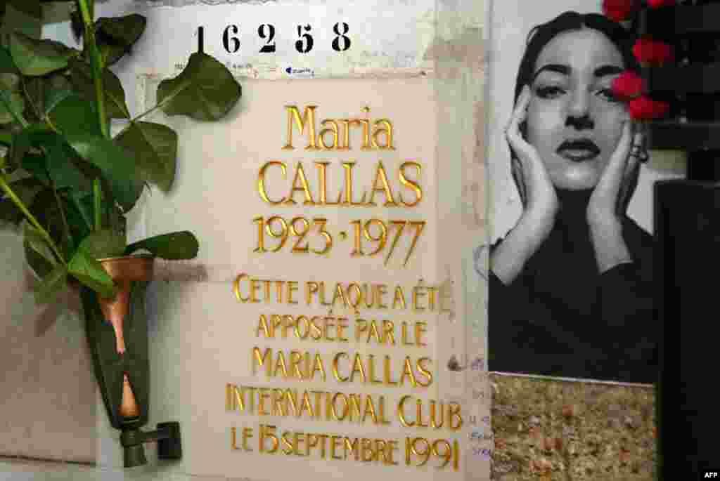 The gravestone of Maria Callas at Pere Lachaise Cemetery in Paris
