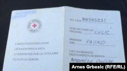 Kartica Crvenog krsta Fajke Čelića, foto: Arnes Grbešić