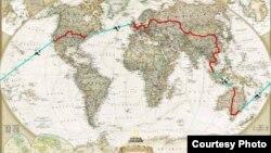 Маршрут планируемого Магжаном Сагимбаевым путешествия вокруг света.