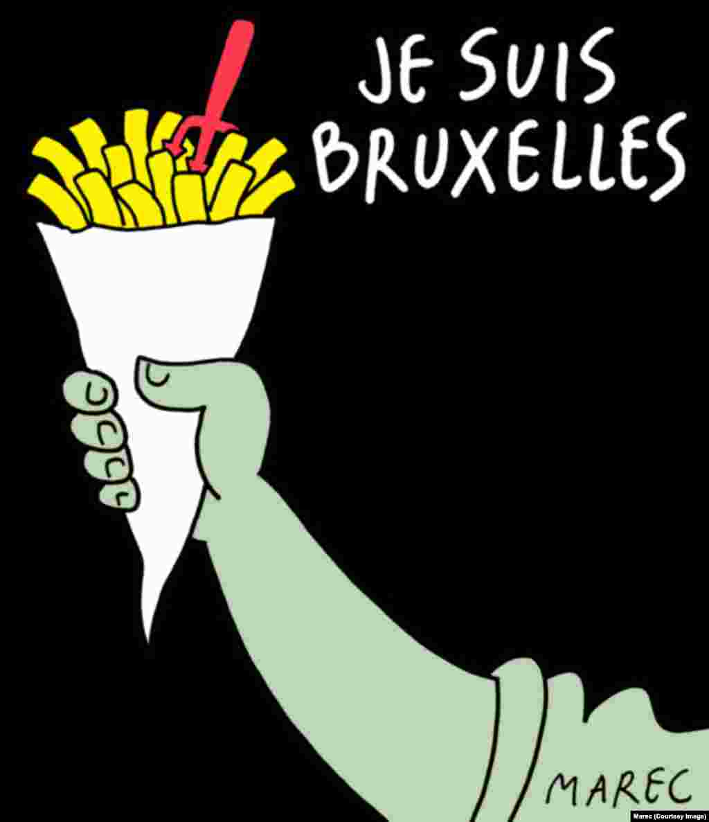 "Another image referencing ""pommes frites"" and the Je Suis Bruxelles (""I am Brussels"") meme. (Social-media generated content. This cartoon by Marec in Het Nieuwsblad.)"