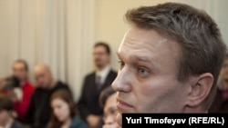 Aleksei Navalny at a debate at Moscow's Institute of Higher Economics on March 18
