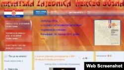 Snimak internetske stranice Hrvatske zajednice Herceg Bosne