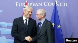 Presidenti i BE-së, Herman Van Rompoj, dhe presidenti i Serbisë, Boris Tadiq