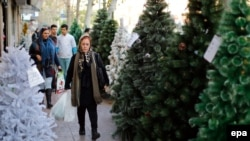 An Iranian woman walks past Christmas trees for sale in central Tehran, December 23, 2015
