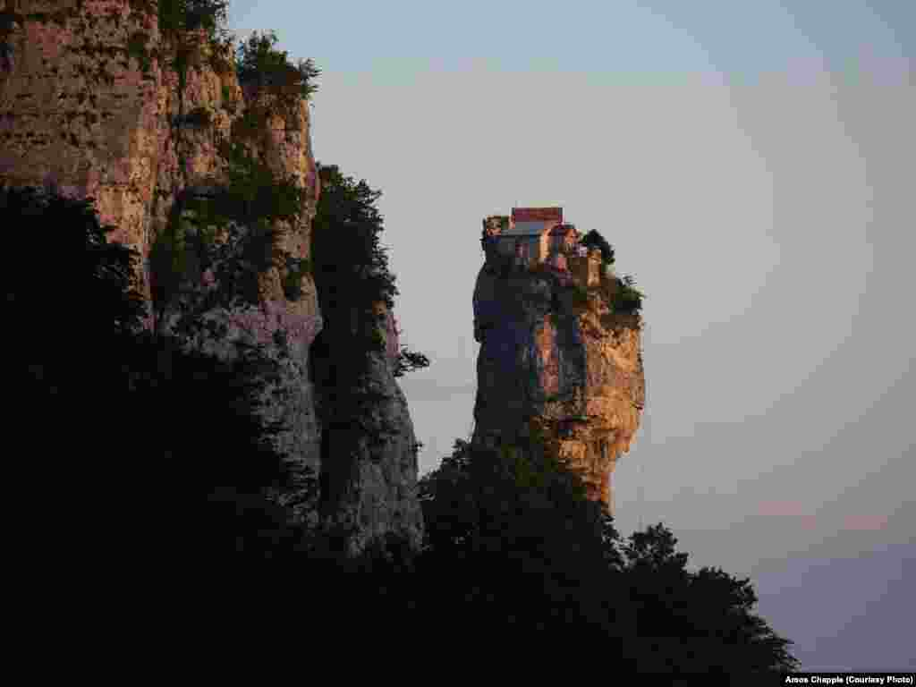 The Katskhi Pillar on a clear evening.