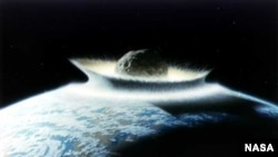 NASA. Иллюстрация гипотетического удара астероида. Изображенный астероид очень велик, столь большие небесные тела Земле в обозримом будущем не угрожают