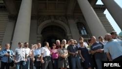 Protest novinara zbog izmena Zakona, avgust 2009, Foto: Vesna Anđić