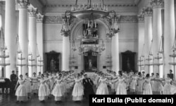 Upper-class girls being trained to dance the mazurka in St. Petersburg before 1917.