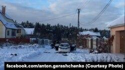 Місце, де загинули поліцейські в селі Княжичі Київської області, 4 грудня 2016 року (фото з соцмереж)