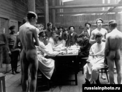 A medical examination of men enlisted to fight in the Red Army in 1918.