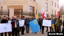 У Тбілісі в суботу, 31 січня 2015 року, біля посольства України в Грузії відбулася акція на підтримку України