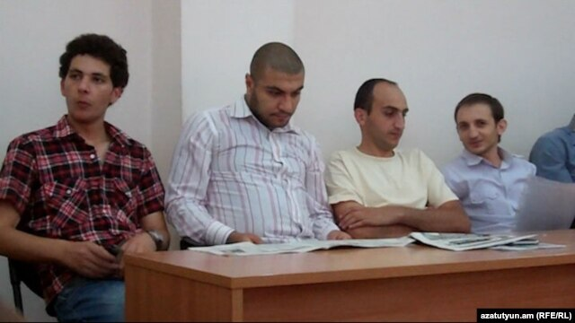 Armenia - (From L to R) Sargis Gevorgian, Davit Kiramijian, Artak Karapetian and Tigran Arakelian, young activists of the opposition Armenian National Congress, during their trial at a Yerevan court, 14Jul2012