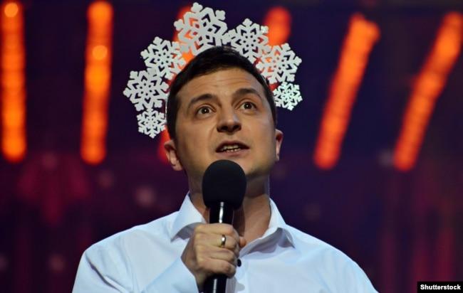 Актор Володимир Зеленський під час зйомок програми «Київ вечірній». Київ, 11 грудня 2016 року