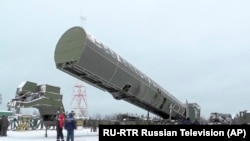 """Nou rachetă intercontinentală """"Sarmat"""" prezentată de televiziunea rusă via AP"""