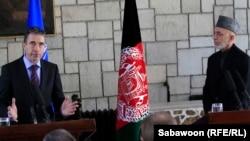 Konferenca e përbashkët në mes të Sekretarit të Përgjithshëm të NATO-së, Aders Fogh Rasmussen dhe Presidentit të Afganistanit, Hamid Karzai