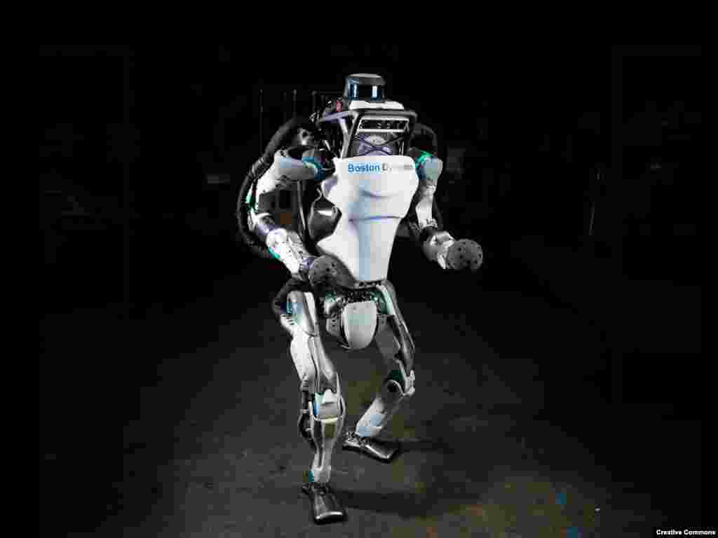 Atlas, a humanoid robot developed with funding from the U.S. Defense Department. The robot can outperform most humans in some physical feats. As the capabilities of robots literally leap ahead, the simultaneous sharpening of AI virtually ensures that efforts to develop robotic warfare will continue.
