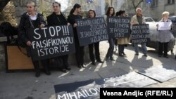 Protesters demonstrate against the possible rehabilitation of Draza Mihailovic in Belgrade earlier this year.