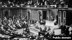 جلسه کنگره که در آن بعد از سخنرانی ودرو ویلسون، آمریکا به آلمان اعلان جنگ کرد.