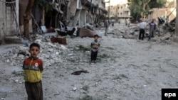 یکی از مناطق تحت کنترل مخالفان در نزدیکی دمشق (عکس از آرشیو)