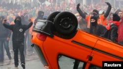 Բելգիա - Ցուցարարների և ոստիկանների միջև բախումները Բրյուսելի կենտրոնում, 6-ը նոյեմբերի, 2014թ․